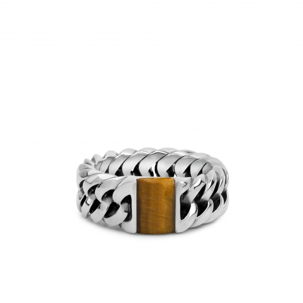 Chain stone ring yllw tigereye
