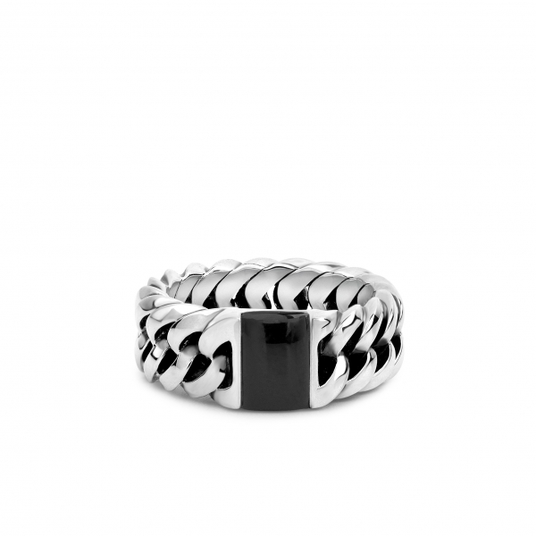 Chain stone ring onyx